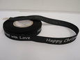 Black & White 2 or 20 metres 15mm Happy Christmas with Love Woven Ribbon Xmas Roll Craft